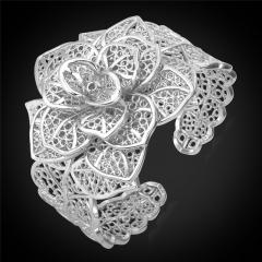 Cuff Bracelets For Women 18K Gold Platinum Plated Luxury Big Flower Bangles Women Wedding Jewellery platinum plated one size