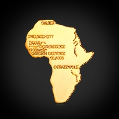 African Map Brooches For Women Men 18k Gold Platinum Plated Hiphop Brooches And Pins 18k gold plated one size