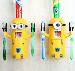 Cute Minions Design Set Cartoon yellow doll Toothbrush Holder Automatic Toothpaste Dispenser