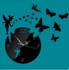 3D Wall Clock Fairy Butterfly Stars Living room Bedroom decoration wall mirror stereo