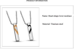 Lovers' love puzzle Titanium necklace Black+Rose gold one size