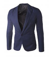 Men Slim Fit Business Casual Premium Blazer Jackets Navy Blue M