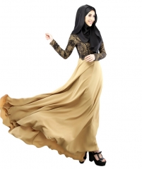 Muslim Women Lace Fake Two Pieces Long Dress khaki m