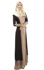 Muslim Dress Fashion Stitching Color Robe brown m