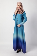 Muslim Ladies Rainbow Gradient Dress blue m