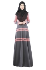 Muslim Women's Clothing Long-sleeved Dress Accessories Stitching Skirt pink m