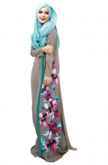 Muslim Women's National Dress Digital Printing Multicolor Robe gray m