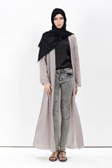 New Style Muslim Fashion Long Solid Cardigan Dress gray m