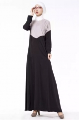 New Style Muslim Stitching Color Long Dress gray Free