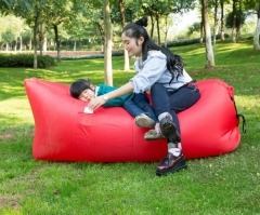 Outdoor beach inflatable sofa folding home lazy sleeping bag inflatable bed red one