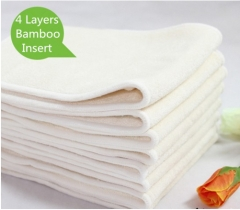 10 Pcs 4 Layers Bamboo Insert Reusable Washable Breathable  For Baby Cloth Diapers Nappy