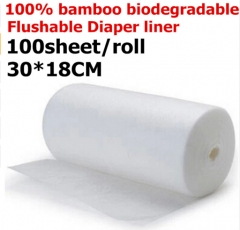 2Rolls Bamboo Flushable Liner,100 Sheets/Roll Biodegradable Disposable For 3-36 Months 3-15 Kgs Baby white 30X18cm
