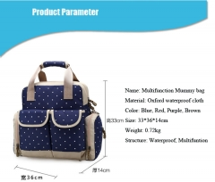 Diaper mummy bag nappy bag multifunctional fashion mother handbag waterproof Mama backpack bag Blue 33*36*14