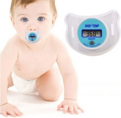 Baby Nipple Thermometer Baby Pacifier  LCD Digital Mouth Nipple Pink One size
