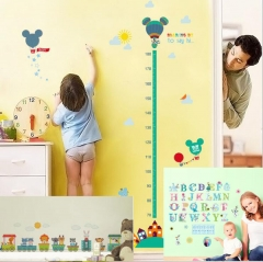 Removable Mickey & Minnie Height Paste+Frozen English Letter Sticker+Railway Track Sticker Mickey+Letters+Track one size