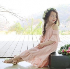 Girl Hollow Out Pricess Dress Pink 100cm