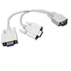 VGA 1 Male to 2 Female VGA SVGA Monitor Vedio Y Splitter Cable Lead 15 Pin for PC white one size