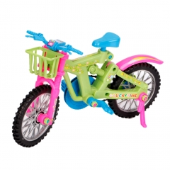 DIY Miniature Emulational Plastic Bike Bicycle Vehicle Toy Barbie Rotatable Wheels as picture one size