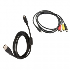 AV A/V TV + USB Cable Cord for Camera SONY Handycam DCR-SR40/E black one size