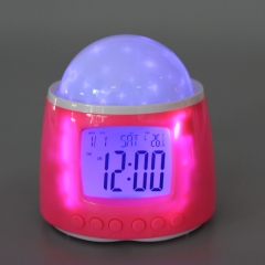 Romantic Music Galaxy Star Projector Digital Alarm Clock Pink Gift Light Pink one size no