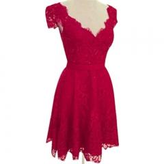 Fashion Slim Medium Length V-neck Short Sleeve Lace Backless Lady Dress Red M
