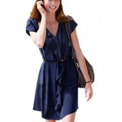 Women Folded Falbala with Shoulder Strap Chiffon Dress Skrit Royalblue free size