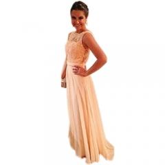 Fashion Floor Length Spliced Backless Lace Chiffon Lady Evening Dress Pink m