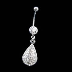 Waterdrop Shaped Crystal Belly Button Ring belly dance jewelry as picture show one size