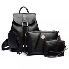New 3-Piece Embossing Grain Double Pockets Double-shoulder PU Backpack Handbag black one size