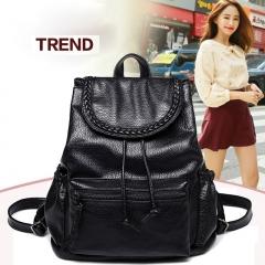 Women's New Backpack Travel PU Leather Handbag Rucksack Shoulder School Bag black one size