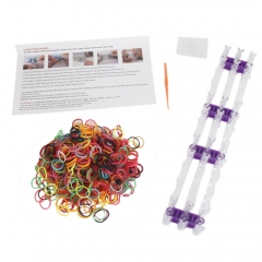 600Pcs Rainbow Hand Loop Loom Tool Suits Rubber Bands Colorful DIY Bracelet as picture one size