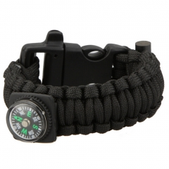 Multi-functional Survival Wrist Strap with Compass Whistle Scraper Gear Kits black one size