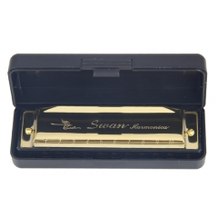 Swan Harmonica 10 Hole Key of C for Blues Rock Jazz Folk Harmonicas Golden one size