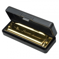 HOT Swan Harmonica 10 Holes Key of G with Case with Case Golden one size