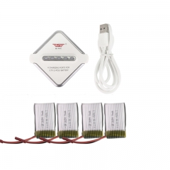 4pcs 3.7V Lipo Battery + 1 to 4 Charger + USB Cable for SY X25 RC Quadcopters as picture one size