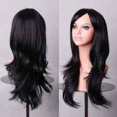 Anime High Temperature 70CM Long Curly Hair Wig Synthetic Party Cosplay Black one size