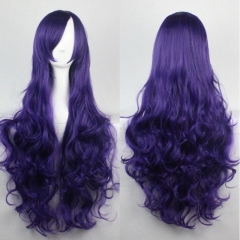 80CM Cosplay Party Long Curly Synthetic Hair Wig High Temperature Fiber dark purple one size