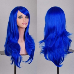 70CM Anime Synthetic Fiber High Temperature Long Curly Hair Wig Cosplay Royal Blue one size