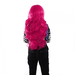 Anime COS High Temperature Fiber 80CM Long Curly Synthetic Hair Wig Cosplay Party Rose Red one size