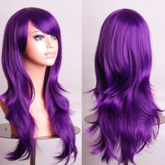 70CM Anime High Temperature Long Curly Synthetic Fiber Hair Wig Cosplay purple one size