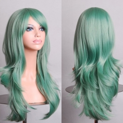 70CM Cosplay Party Synthetic Fiber High Temperature Long Curly Hair Wig mint green one size