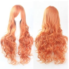 80CM Long Curly Synthetic Hair Wig High Temperature Fiber Cosplay Party orange one size