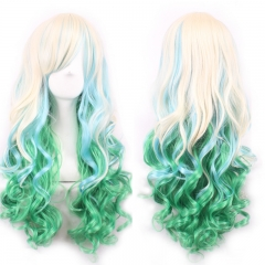Anime 70CM Synthetic Fiber Long Curly Full Wig Cosplay Party Halloween as picture one size
