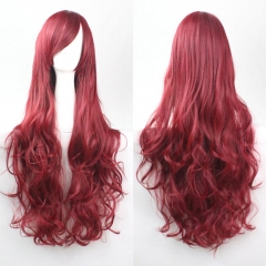 Anime COS Cosplay Party 80CM Long Curly Synthetic Hair Wig High Temperature Fiber wine red one size