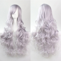 80CM Anime High Temperature Synthetic Fiber Long Curly Hair Wig Cosplay Grey one size