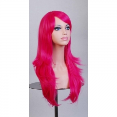 Anime 70CM High Temperature Cosplay Long Curly Synthetic Fiber Hair Wig rose red one size