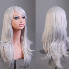 Anime COS High Temperature 70CM Long Curly Hair Full Wig Synthetic Party Cosplay silver white one size