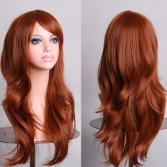 Anime COS Bangs Long Full Cosplay Curly Hair Wig 70CM for Women Men brown one size