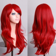 Anime COS High Temperature 70CM Long Curly Hair Wig Synthetic Party Cosplay red one size