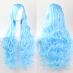 Anime COS Synthetic Fiber Bangs Long Curly Hair Full Cosplay Wig blue one size